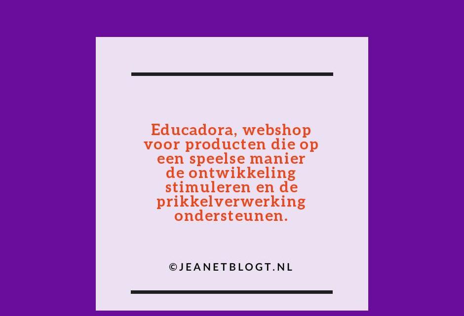 Educadora, webshop voor producten die op een speelse manier de ontwikkeling stimuleren en de prikkelverwerking ondersteunen.